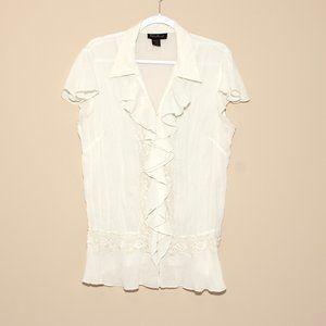 Ashley Stewart blouse ruffle front peplum 14/16